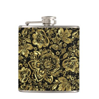 Black & Shiny Gold Flowers Pattern Hip Flasks