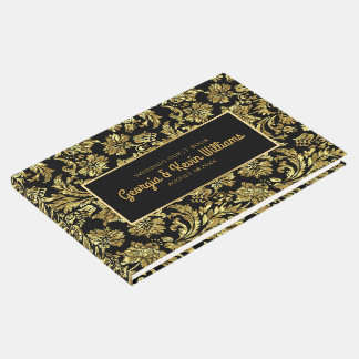 Black & Shiny Gold Vintage Floral Damasks Guest Book