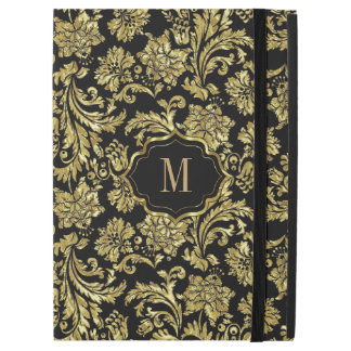 "Black & Shiny Gold Vintage Floral Damasks Pattern iPad Pro 12.9"" Case"