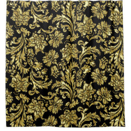 Vintage Gold Damask Shower Curtains Zazzle