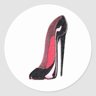 Black Shiny Left Stiletto Shoe Classic Round Sticker