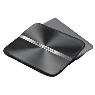 Black Shiny Stainless Steel Texture Metallic print Laptop Sleeve