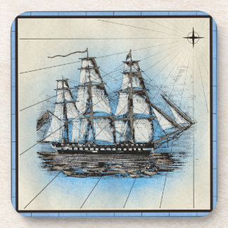 Black Ship Marine Print with Blue Frame Drink Coaster