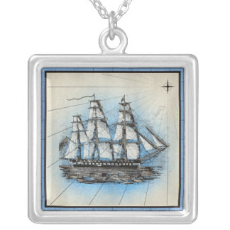 Black Ship Marine Print with Blue Frame Silver Plated Necklace