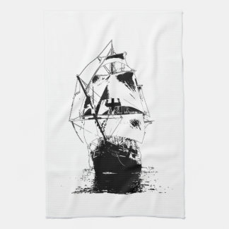 Black Ship Silhouette Hand Towel