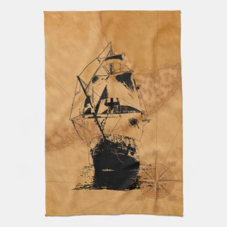 Black Ship Silhouette Hand Towels