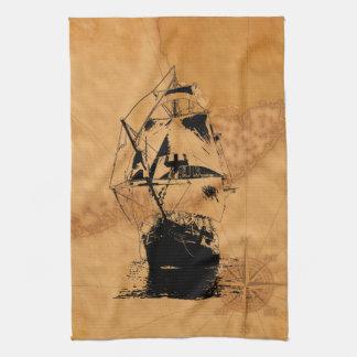 Black Ship Silhouette Kitchen Towel
