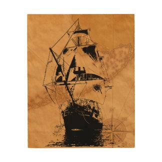 Black Ship Silhouette Wood Print