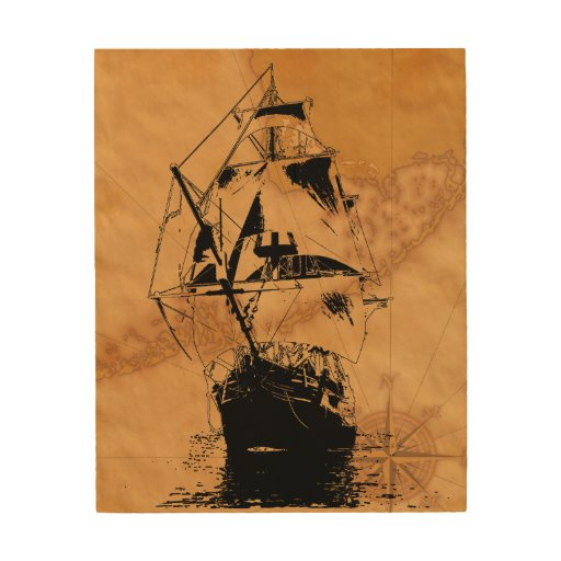 Black ship silhouette wood wall art zazzle for Silhouette wall art