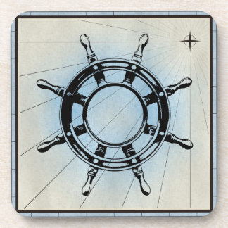 Black Ship Wheel Marine Print Blue Frame Beverage Coaster
