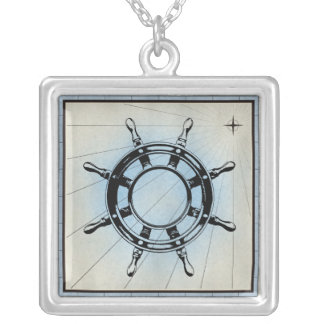 Black Ship Wheel Marine Print Blue Frame Silver Plated Necklace