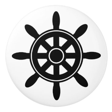 Beach Themed Black Ship Wheel  Nautical Themed Cabinet Knob