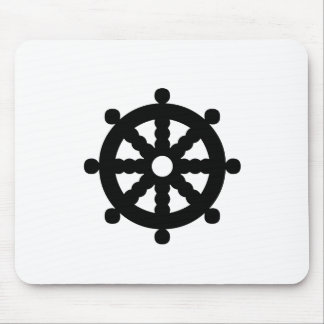 Black Ship's Wheel Mouse Pad