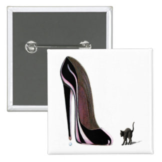 Black shoe and scaredy cat Button