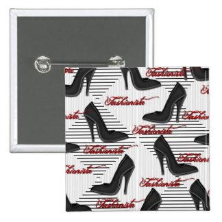 Black Shoes-Fashionista-Button 2 Inch Square Button