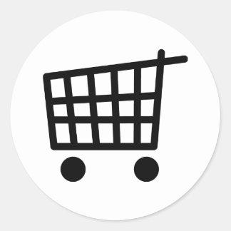 black shopping trolley classic round sticker