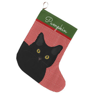 Black Short Hair Cat Yellow Eyes Personalized Large Christmas Stocking