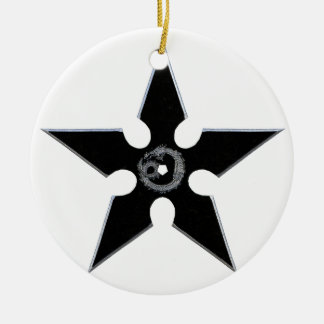 Black Shuriken with Silver Dragon Ceramic Ornament
