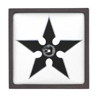 Black Shuriken with Silver Dragon Gift Box