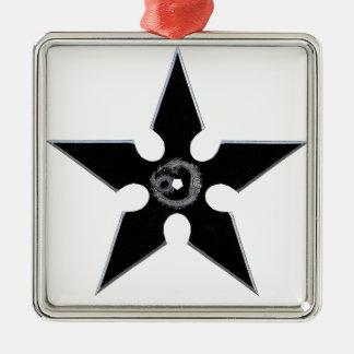 Black Shuriken with Silver Dragon Metal Ornament