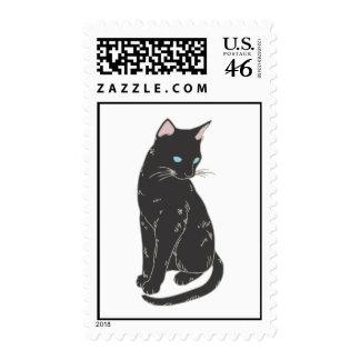 Black Siamese Cat Stamp