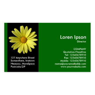 Black Side Band Flower - Yellow Daisy - Green Double-Sided Standard Business Cards (Pack Of 100)