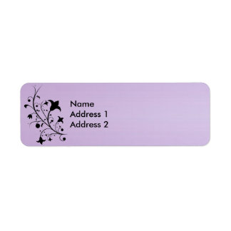 Black Silhouette Abstract Scroll Flowers Purple Custom Return Address Labels