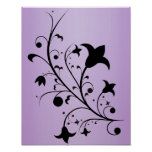 Black Silhouette Abstract Scroll Flowers Purple Poster