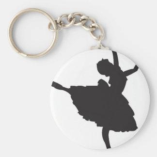 Black Silhouette Ballet Dancer Basic Round Button Keychain