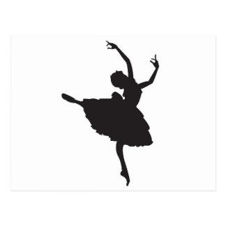 Black Silhouette Ballet Dancer Postcard