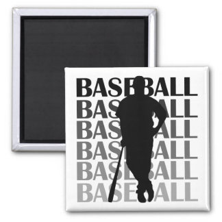 Black Silhouette Baseball Player T-shirts and Gift 2 Inch Square Magnet
