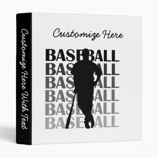 Black Silhouette Baseball Player T-shirts and Gift 3 Ring Binder