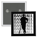 Black Silhouette Baseball Player T-shirts and Gift Pin