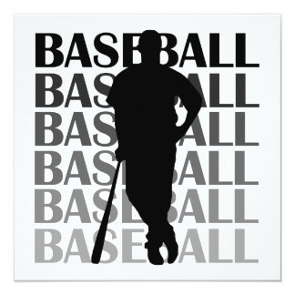 Black Silhouette Baseball Player T-shirts and Gift Invitation