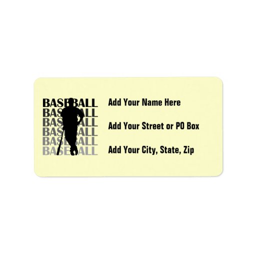 Black Silhouette Baseball Player T-shirts and Gift Personalized Address Label
