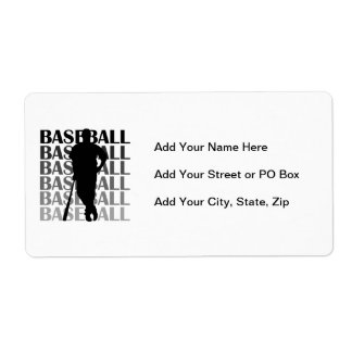 Black Silhouette Baseball Player T-shirts and Gift Shipping Label
