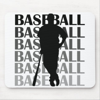 Black Silhouette Baseball Player T-shirts and Gift Mouse Pad