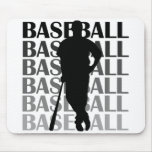Black Silhouette Baseball Player T-shirts and Gift Mousepad