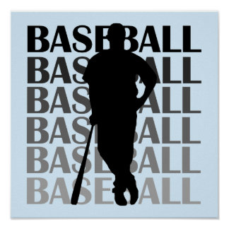 Black Silhouette Baseball Player T-shirts and Gift Poster
