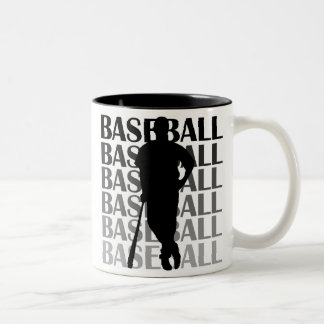 Black Silhouette Baseball Player T-shirts and Gift Two-Tone Coffee Mug