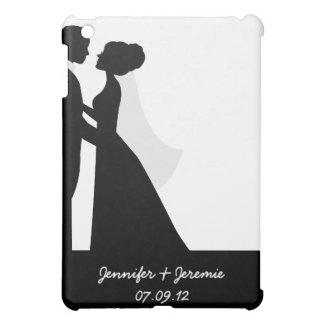 Black Silhouette Bride and Groom  iPad Mini Cases