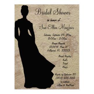 Black Silhouette Bride Beige Floral Background Postcard
