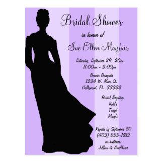 Black Silhouette Bride Purple Striped Background Postcard