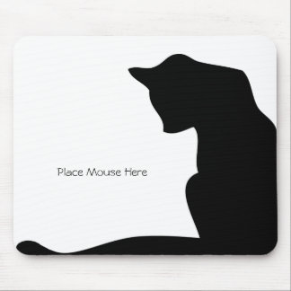 Black Silhouette Cat - Place Mouse Here Mouse Pads