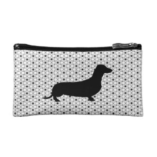 Black Silhouette Dachshund on Black and White Cosmetic Bag