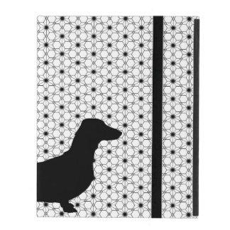 Black Silhouette Dachshund on Black and White iPad Folio Case