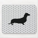 Black Silhouette Dachshund on Black and White Mouse Pad