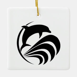 Black Silhouette Dolphin Jumping in Ocean Waves Ceramic Ornament