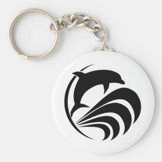 Black Silhouette Dolphin Jumping in Ocean Waves Keychain