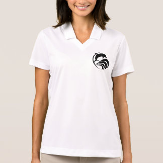 Black Silhouette Dolphin Jumping in Ocean Waves Polo Shirt